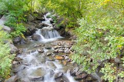 Long exposure stream and waterfalls in Andorra Stock Images