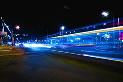 Long exposure street at night dynamic effect of the vehicle lights stock images