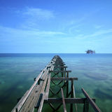 The long exposure during sunlight at mabul island and broken old Stock Images