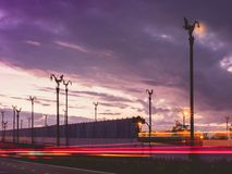 Long exposure with sunrise on asia beautiful contry road with cl stock images