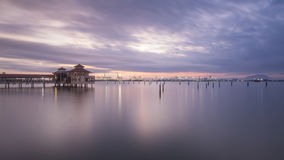 Long exposure sunrise in QEII, Penang. Beautiful landscape series of sunrise and sunset collection from George Town, Penang, Malaysia Stock Images