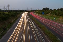 Long exposure sunset over German highway near Cologne, Germany stock photos