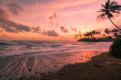 Long exposure sunset views in Galle along the coastline royalty free stock photo
