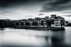 Long exposure at sunset of waterfront condominiums at the Inner Royalty Free Stock Images