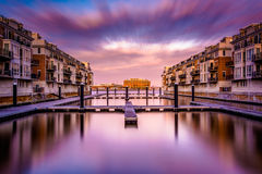 Long exposure at sunset of waterfront condominiums at the Inner Stock Photos