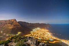 Camps Bay at night in Cape Town, South Africa stock image
