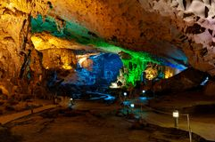 Interior of Surprise Caev in Ha Long Bay, Vietnam royalty free stock images