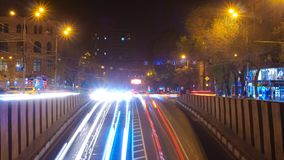 Long Exposure Time lapse of Night Traffic Cars in Yerevan.  stock video