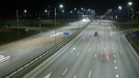 Long Exposure Time Lapse of Night Traffic in Vilnius, Lithuania. High-angle view from a bridge stock video footage