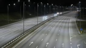 Long Exposure Time Lapse of Western Bypass Night Traffic in Vilnius, Lithuania. High-angle view from a bridge stock video