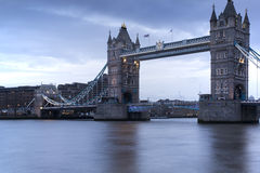 Long exposure of Tower Bridge in London during twilight blue hou Royalty Free Stock Photo