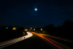Long exposure of traffic on the Andrew Jackson Highway from the. Central Avenue Bridge, in Charlotte, North Carolina Royalty Free Stock Photos