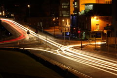 Long Exposure Traffic Junction York. Long exposure of traffic in York at night Stock Photography