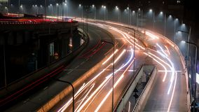 Long exposure shot of traffic and cars lights time lapse stock photo