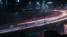 Long exposure shot of traffic and cars lights time lapse royalty free stock image