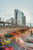 Long exposure of traffic on Sathorn district,Bangkok,Thailand. Bangkok,Thailand -  May 13,2015 : Long exposure of traffic on Sathorn district,Bangkok,Thailand Royalty Free Stock Photos