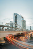 Long exposure of traffic on Sathorn district,Bangkok,Thailand. Stock Images