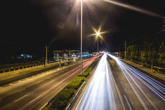 Long exposure traffic scene of thailand stock photos