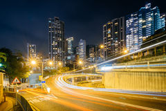 Long exposure of traffic on Upper Albert Road, and modern skyscr Royalty Free Stock Image