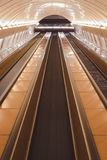 Escalators in a tube station in Prague stock images