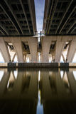Long exposure under the Woodrow Wilson Bridge, in Alexandria, Vi Royalty Free Stock Photo