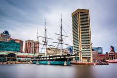 Long exposure of the USS Constellation and World Trade Center, a Stock Image