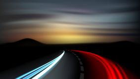 Long Exposure Vehicles Light Trails On Freeway Royalty Free Stock Photography