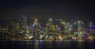 Seattle city skyline night shot royalty free stock image