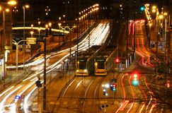 Long exposure view of busy Grand Boulevard with trams Budapest Stock Images
