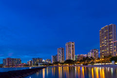 Long exposure of Waikiki Beach and skyline Royalty Free Stock Photos