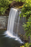 Long Exposure of Waterfall. Bridal Veil Falls on Manitoulin Island Stock Photo