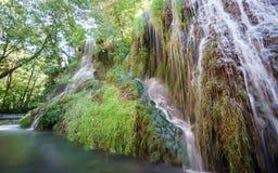 Long exposure of waterfall and track at Monasterio de Piedra Stock Photo