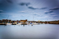 Long exposure of the waterfront in Canton, Baltimore, Maryland. Royalty Free Stock Photo