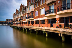 Long exposure of waterfront condominiums in Fells Point, Baltimo Royalty Free Stock Images