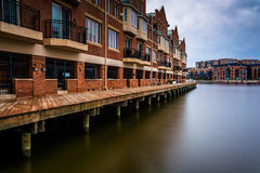 Long exposure of waterfront condominiums in Fells Point, Baltimo Stock Image