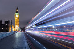 Long Exposure from Westminster Bridge. A long exposure of the traffic on the Westminster Bridge and Palace and the Elizabeth Tower with Big Ben stock images