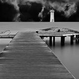 Long exposure on wooden pier Stock Images