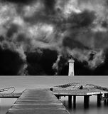 Long exposure on wooden pier Royalty Free Stock Images