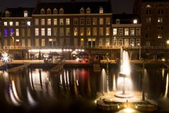 Inner harbour Bassin in Maastricht by night royalty free stock photography