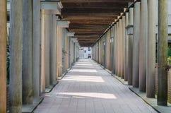 Long exterior, hall, colonnade corridor, Stock Image