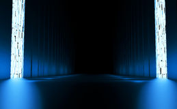 Long fantastic room with a blue glow Stock Photography