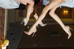 Long female legs in shoes Royalty Free Stock Images