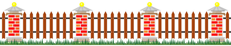 Long fence from bricks Stock Photo