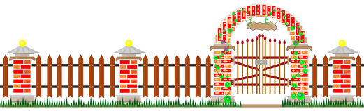 Long fence and gates from bricks Royalty Free Stock Photos