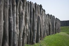 A long fence of logs protects Zaporizhzhya Sich Stock Images