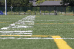 Long Field. A low-angle view of a football field Royalty Free Stock Image