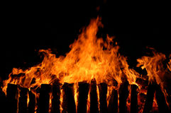 Long fire with charcoal Royalty Free Stock Images