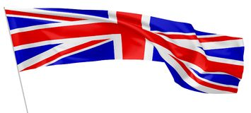 Long flag of United Kingdom on flagpole flying in wind. Royalty Free Stock Photo