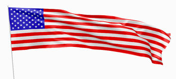 Long flag of United States with flagpole. National flag of United States of America with stars and stripes, with flagpole flying and waving in the wind,  on Royalty Free Stock Photos