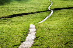 Long Flagstone Path Through Field Stock Photo